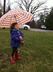 Playing in the rain with Miss M