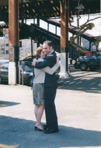 Outside the Neptune Diner on our wedding day - March 25, 2003